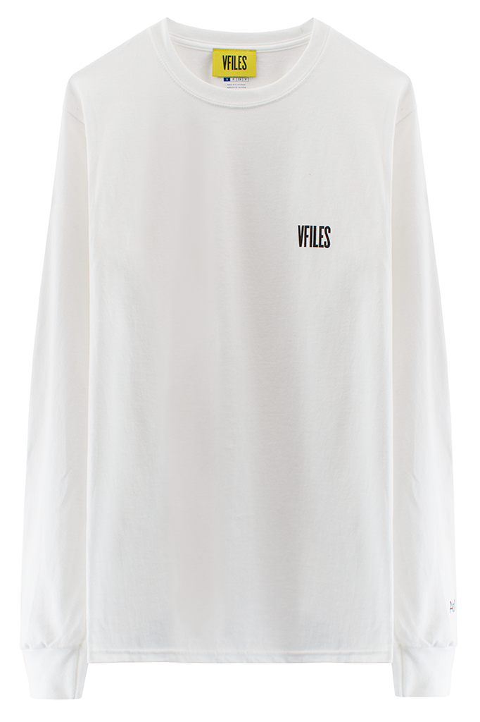 VFILES BASICS LONG SLEEVE TEE | WHITE-BLACK