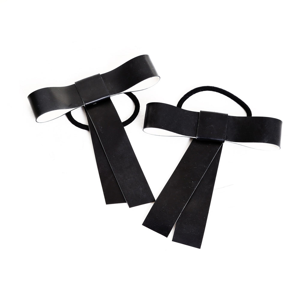 TOXIC BLACK VIRUS HAIR RIBBONS (PAIR)