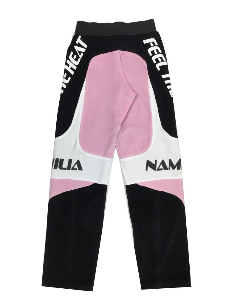 VELOUR MOTOCROSS TROUSERS BABY PINK