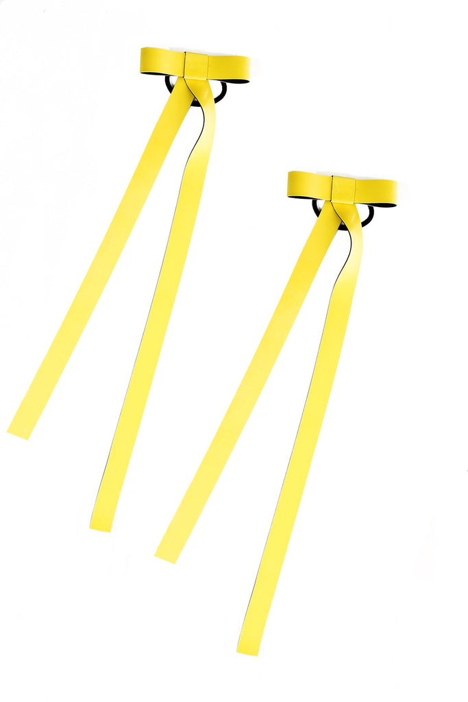 TOXIC YELLOW DEADLY HAIR RIBBONS (PAIR)