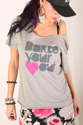 Dance Your <3 Out <br>Boatneck - Heather Gray/Pink