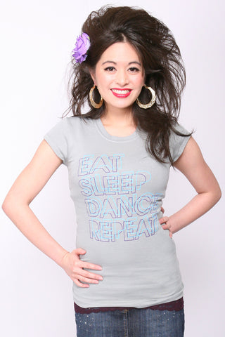 Eat. Sleep. Dance. Repeat. <br>Fitted tee - Gray