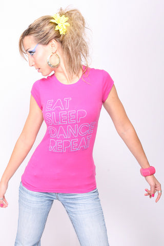 Eat. Sleep. Dance. Repeat. <br>Fitted tee - Pink
