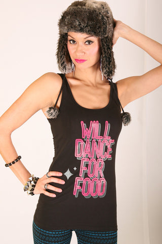 Will Dance for Food <br>Jersey Tank - Black