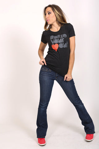 Dance Your <3 Out <br> Fitted tee - Heather Black