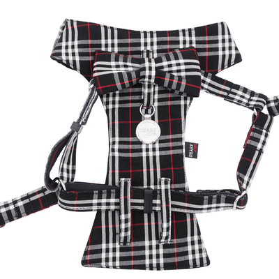 NEW Dog Bow Tie Harness - Classic Plaids Black