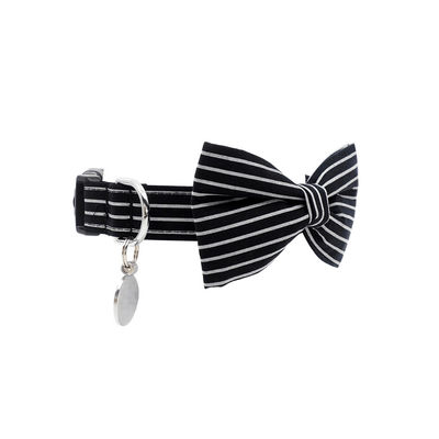 NEW Dog Bow Tie and Collar Set : Black & Silver Stripes