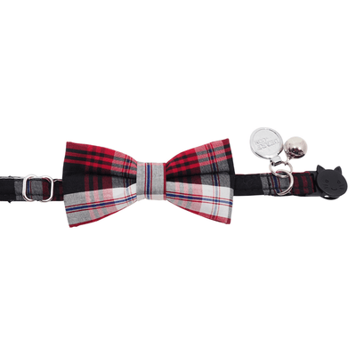 NEW Cat Collar and Bow Tie: Gingham Red and Black