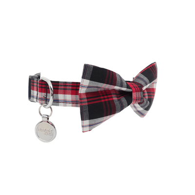 NEW Dog Bow Tie and Collar Set : Red and Black Gingham