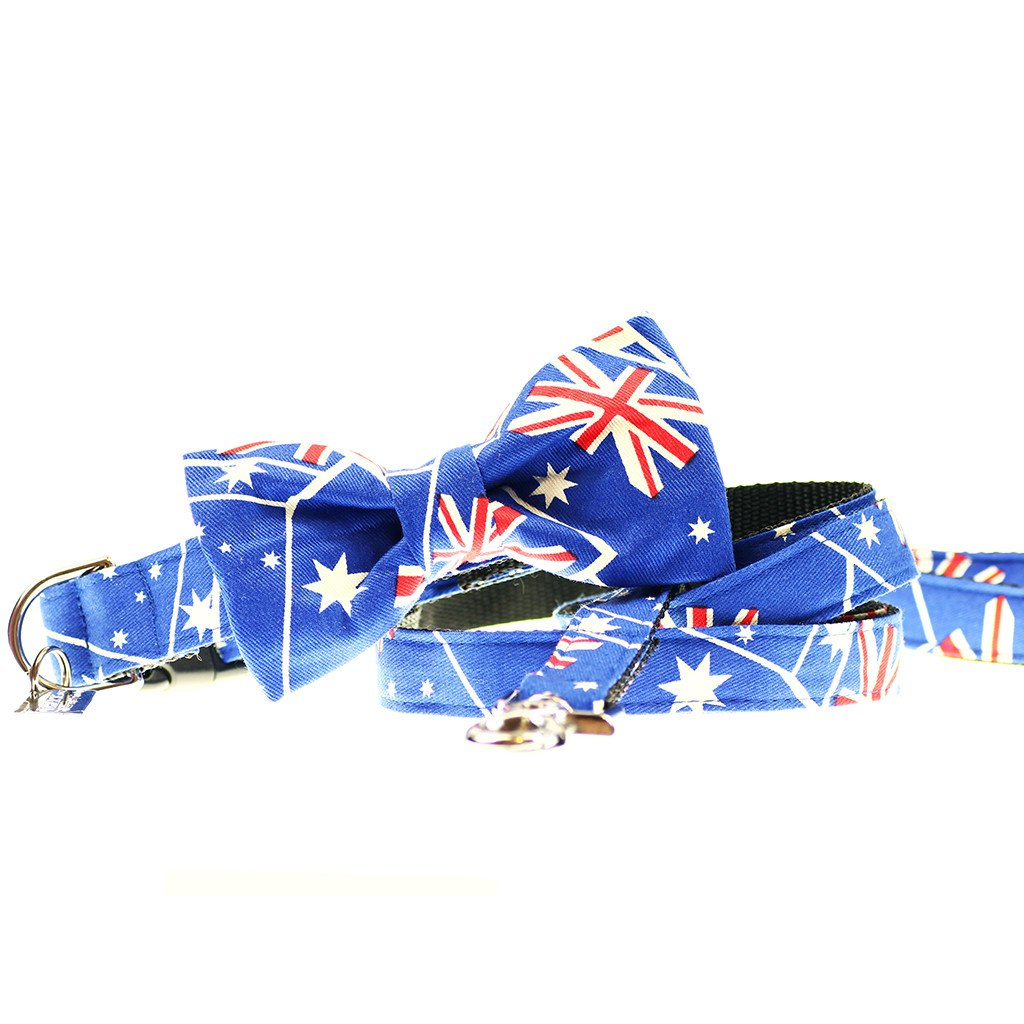 Dharf dog Collar, Bow tie and Leash Set in Aussie Flag pattern
