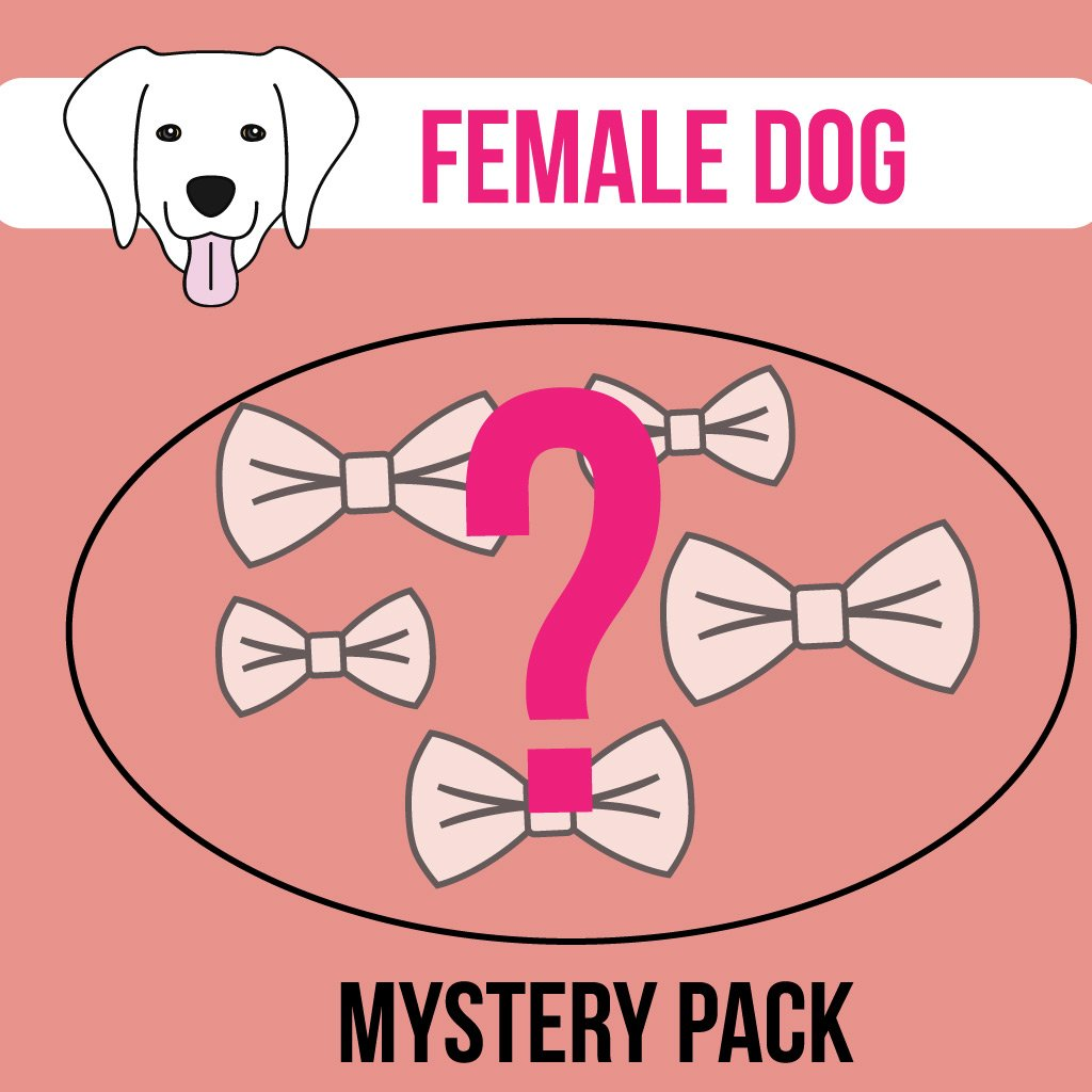 Multipacks of bows that are removable and can be attached to any collar of you choice via velcro straps. Patterns and colours are random but, suitable for female dogs. A multipack of 5 bow for extra small and small sizes, and a multipack of 4 bows for medium and large sizes.