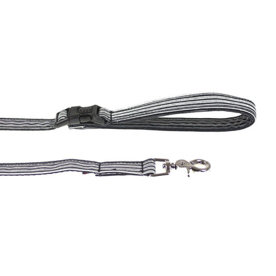 Dharf lockable dog lead in black pinstripes