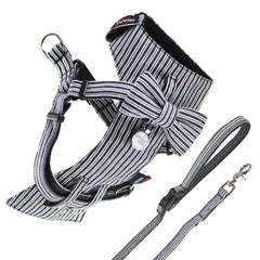 Dog Bow-tie Harness & Leash : Black Pin Stripe