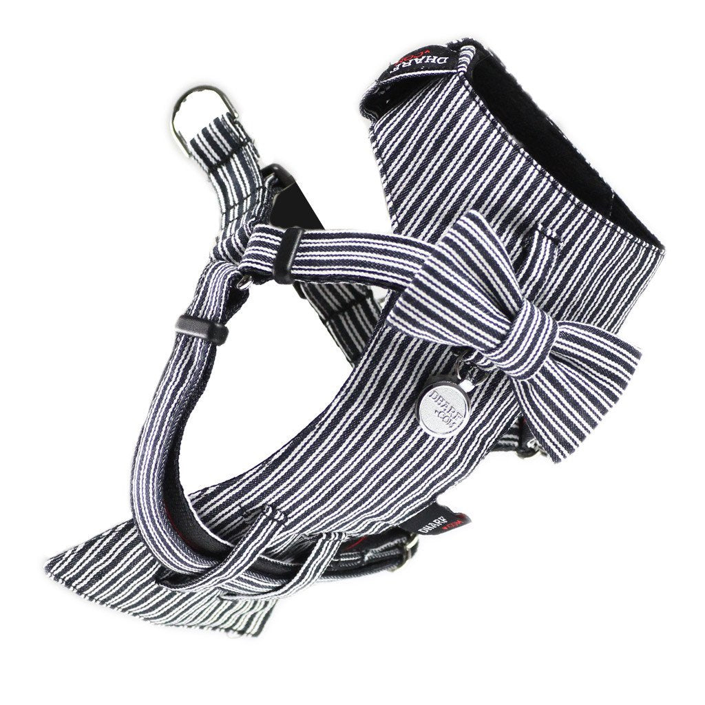 Dharf dog harness and matching bow tie in black pinstripes