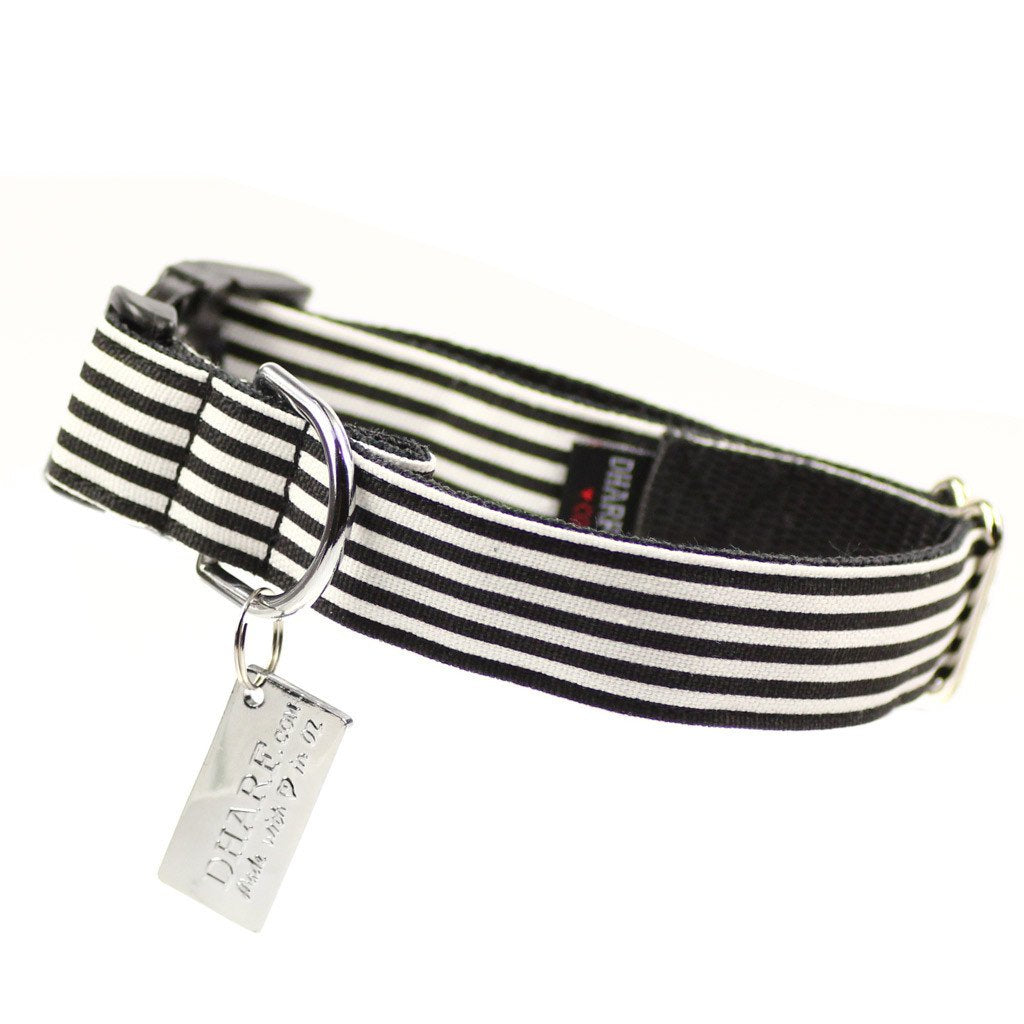 Dog Collar, Bow tie and Leash Set : B&W Striped - Dharf - 6