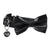 Leather Dog Bow Tie and Collar Set: Black