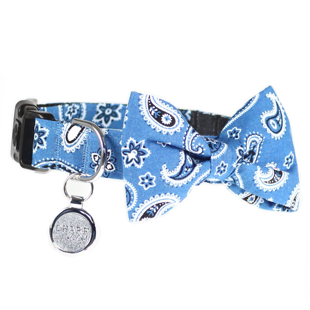 Dog Collar, Bow tie and Leash Set : Blue Paisley