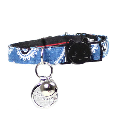 Cat Collar and Bow Tie : Blue Paisley