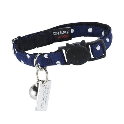 Dharf navy blue polka cat collar with breakaway safety buckle, bell and ID tag