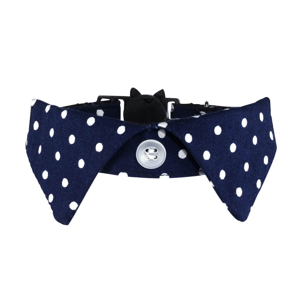 Dharf cat shirt collar in blue polka dots with a breakaway collar