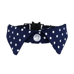 Blue Polka Cat Shirt Collar Set