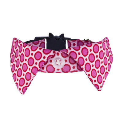 Pink with Pink Polka Dots Cat Shirt Collar. Adjustable, removable accessories, high quality, designer cat collars.