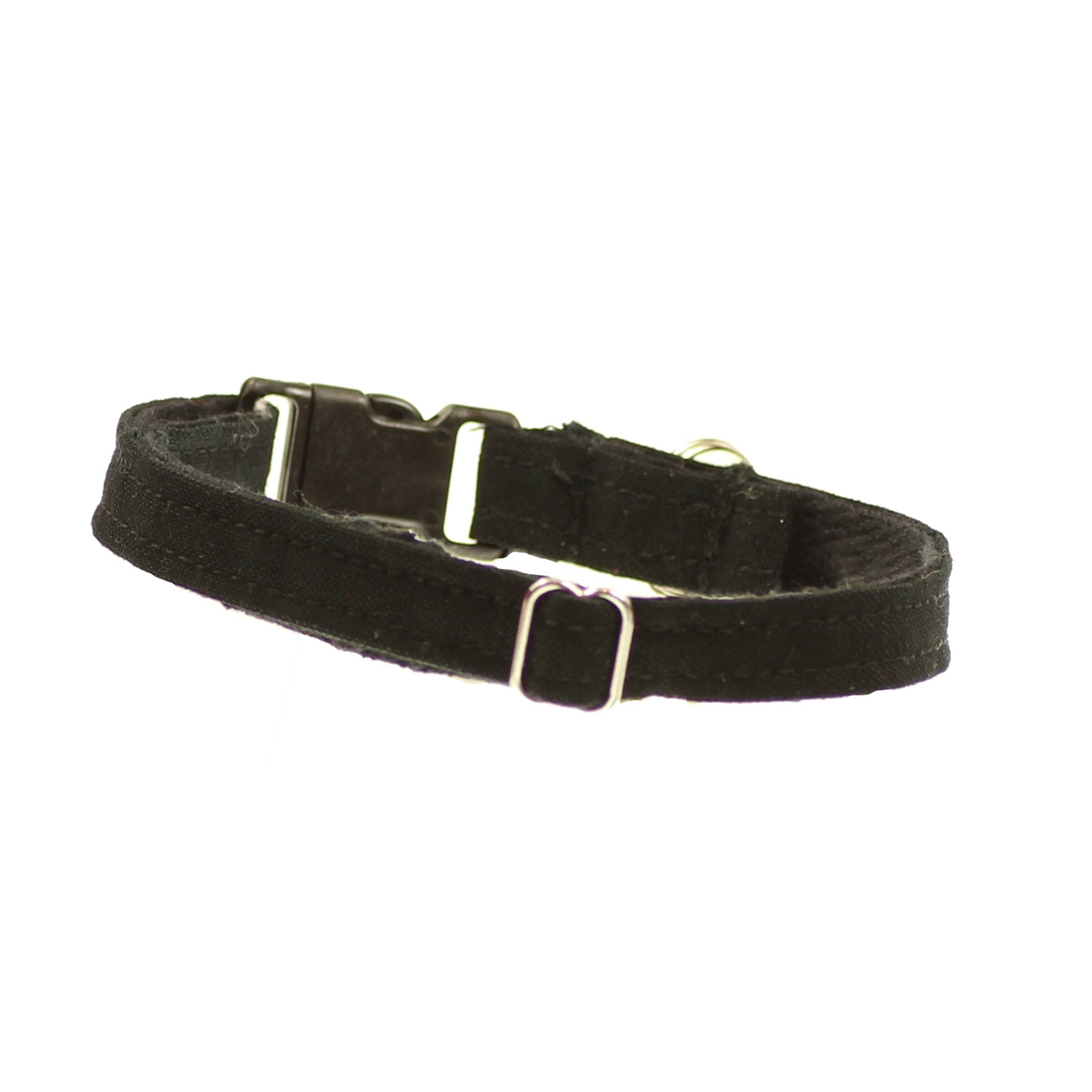 Dharf adjustable black cat collar with bell and breakaway safety clasp