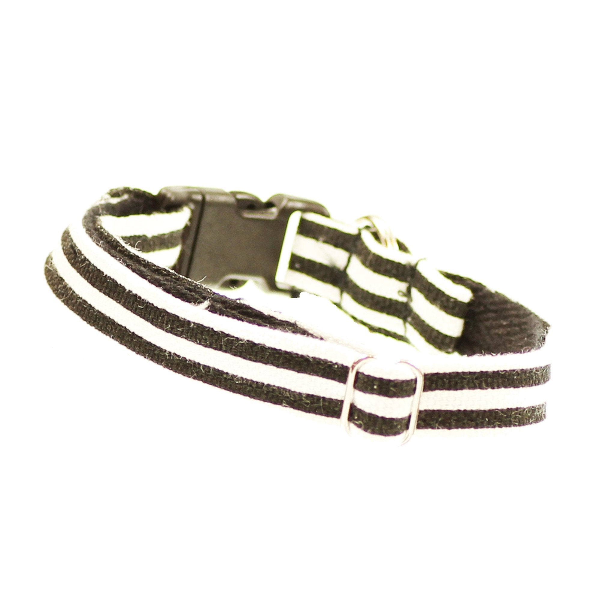 Cat Collar and Bow Tie;  Black and White Stripe - Dharf - 3