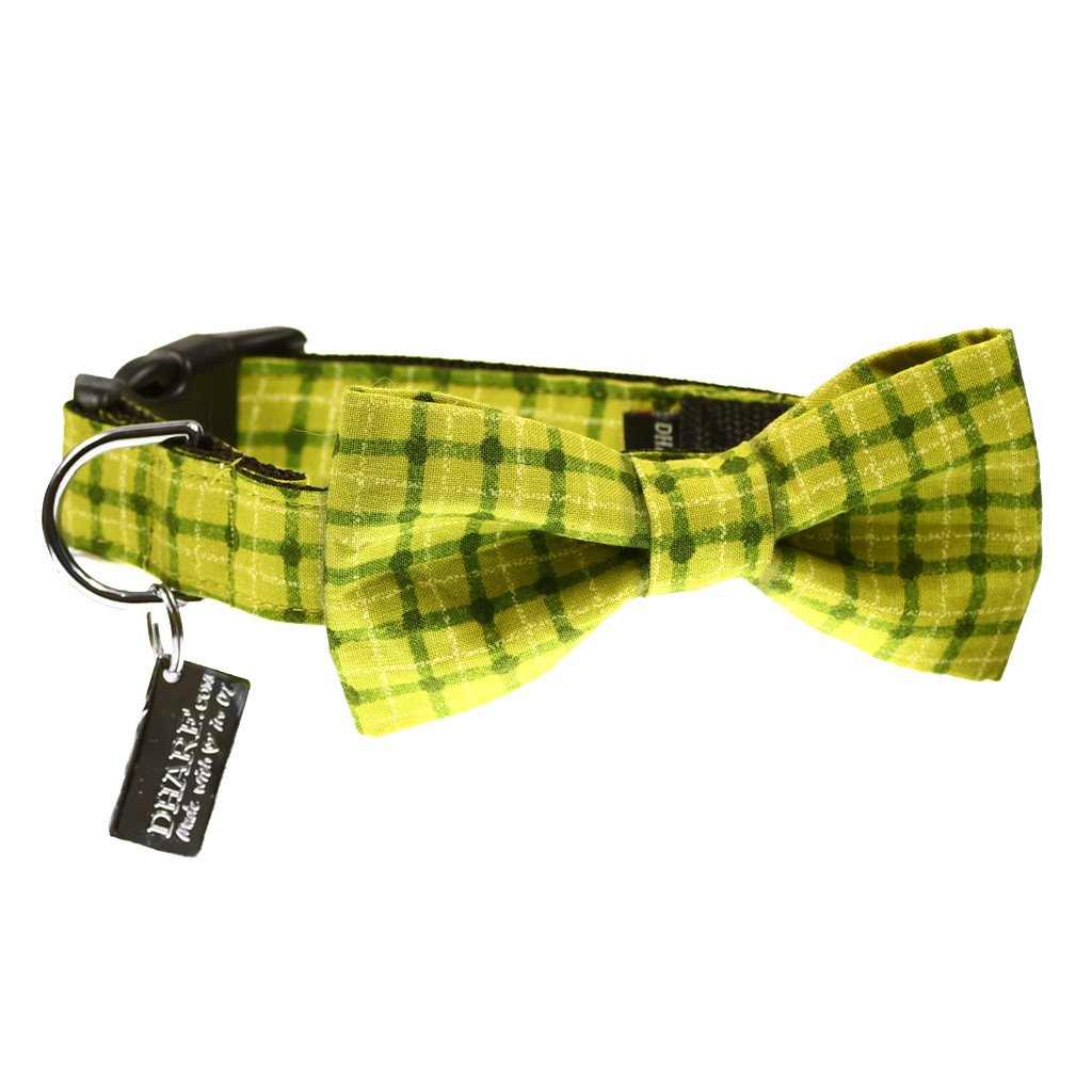 Dog Collar, Bow tie and Leash Set : Green Squares - Dharf - 3