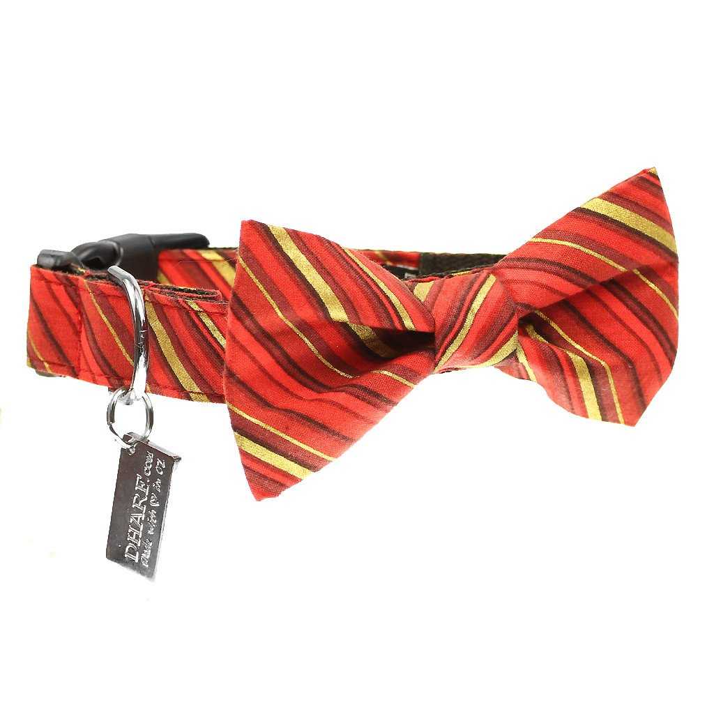 Dog Bow Tie and Collar Set : Red and Gold Candy Cane - Dharf - 1