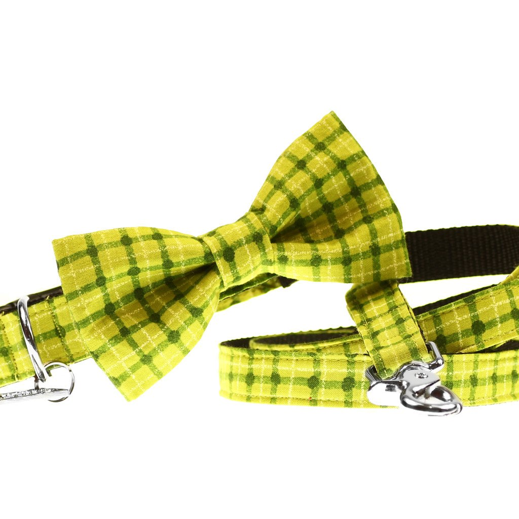 Dog Collar, Bow tie and Leash Set : Green Squares - Dharf - 1