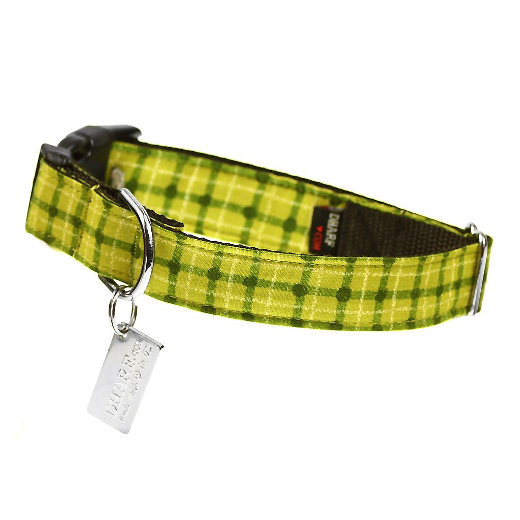 Dog Collar, Bow tie and Leash Set : Green Squares - Dharf - 4
