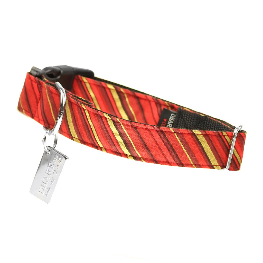 Dog Bow Tie and Collar Set : Red and Gold Candy Cane - Dharf - 3