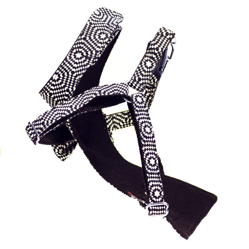 Dog Bow-tie Harness - Black & White Hexagon