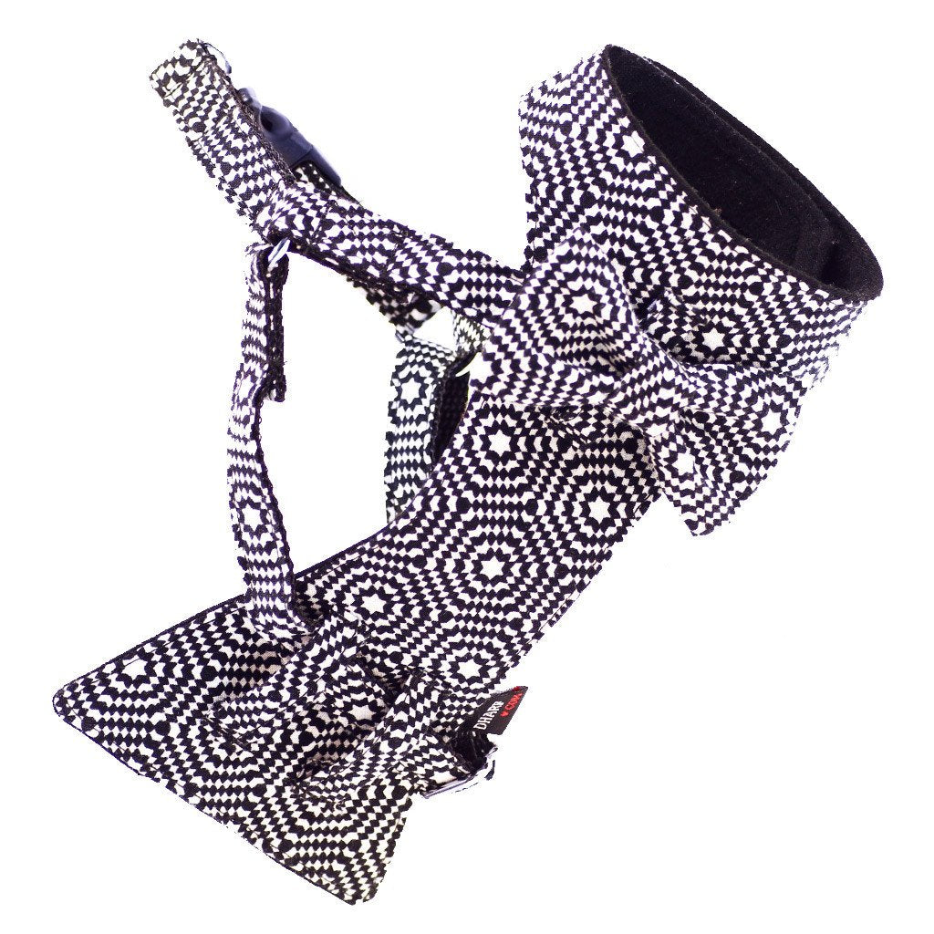 Cat Bow-tie Harness & Leash : Black & White Hexagonal - Dharf - 5
