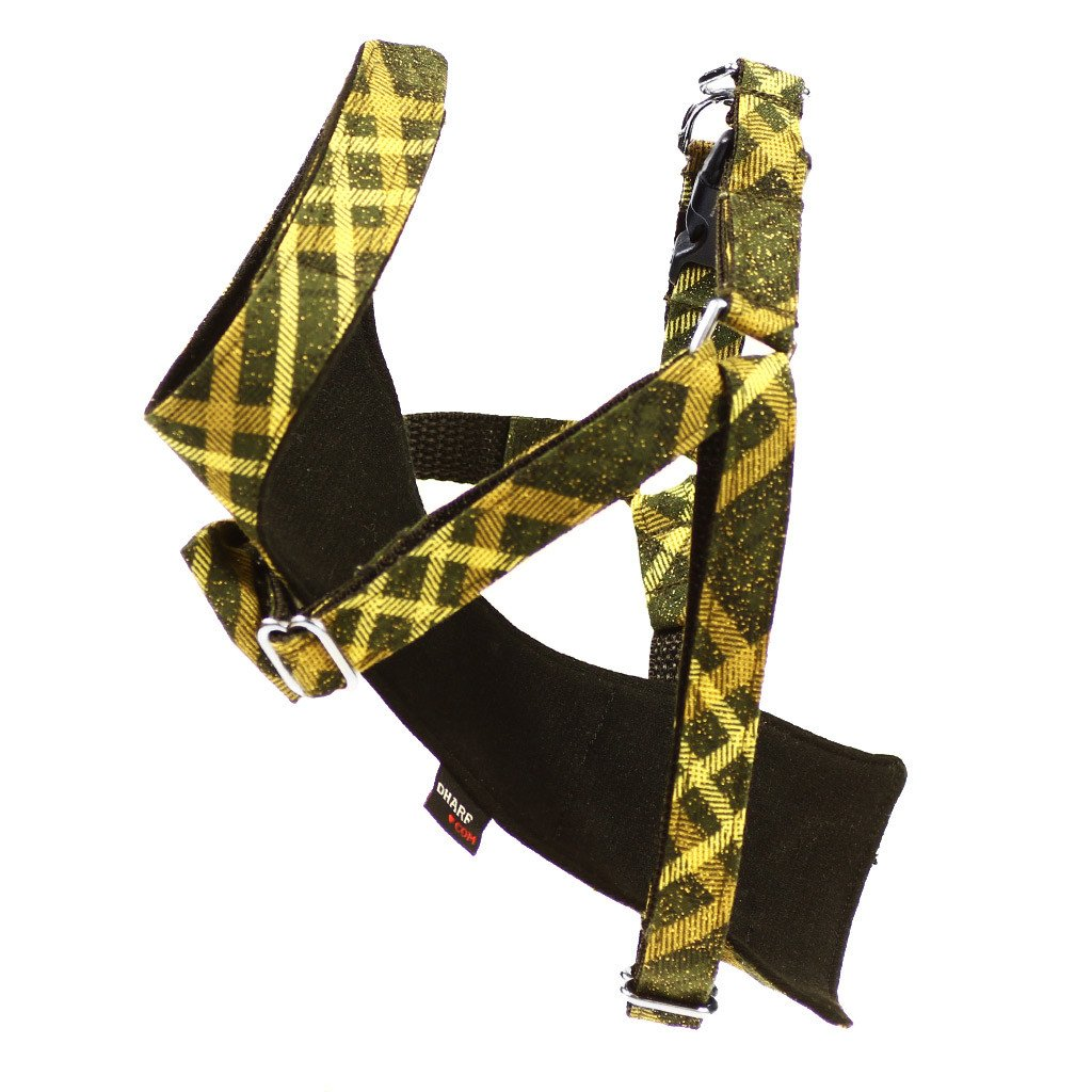 Cat Bow-tie Harness & Leash : Green & Gold Tartan - Dharf - 5