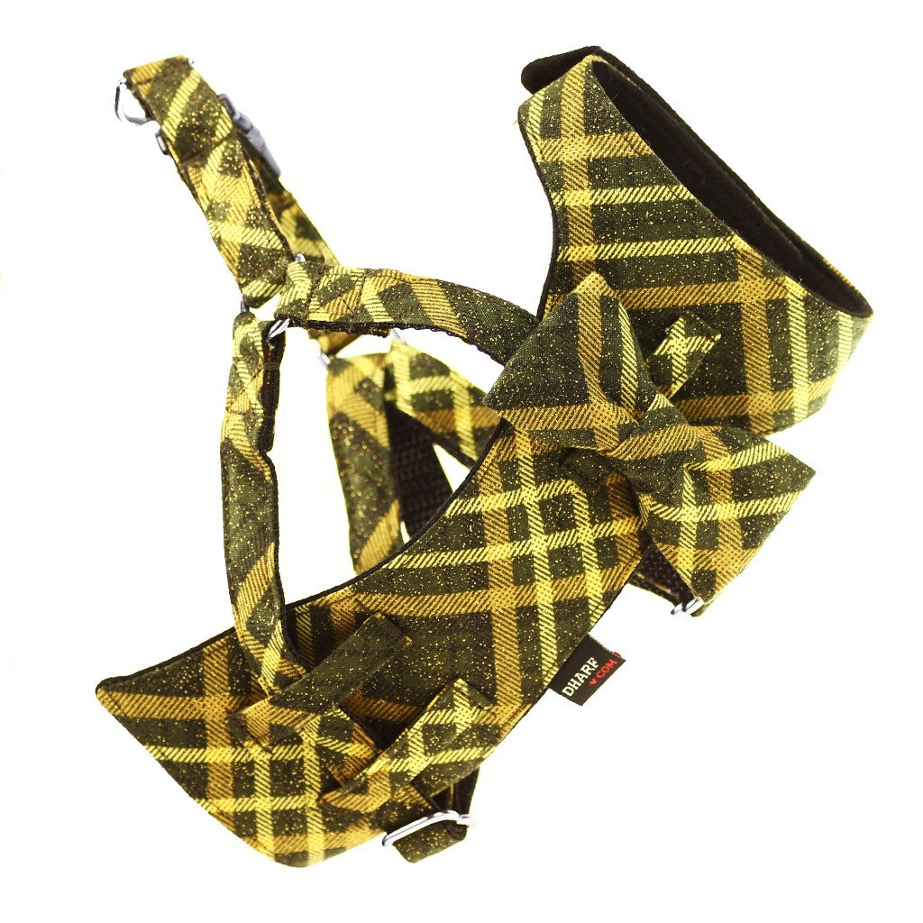 Dog Bow-tie Harness - Green and Gold Tartan - Dharf - 1