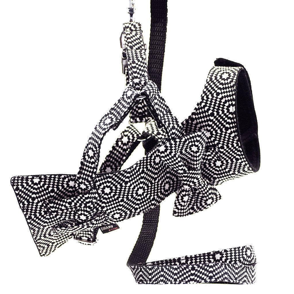 Cat Bow-tie Harness & Leash : Black & White Hexagonal - Dharf - 1