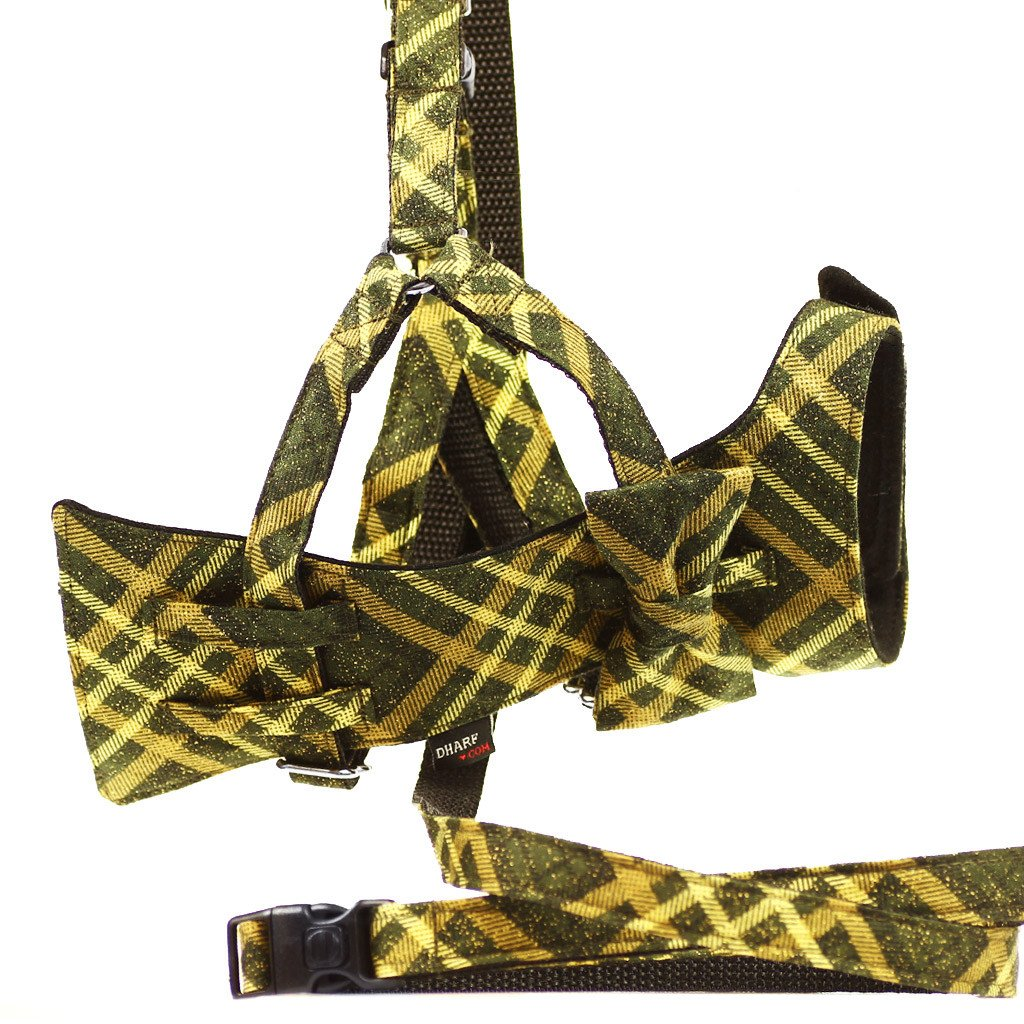 Cat Bow-tie Harness & Leash : Green & Gold Tartan - Dharf - 1