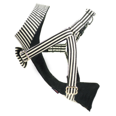 Dharf dog bow tie harness with adjustable straps in black and white stripes