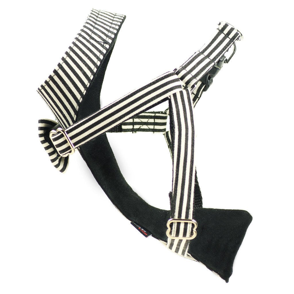 Cat Bow-tie Harness - Black & White Stripes - Dharf - 5