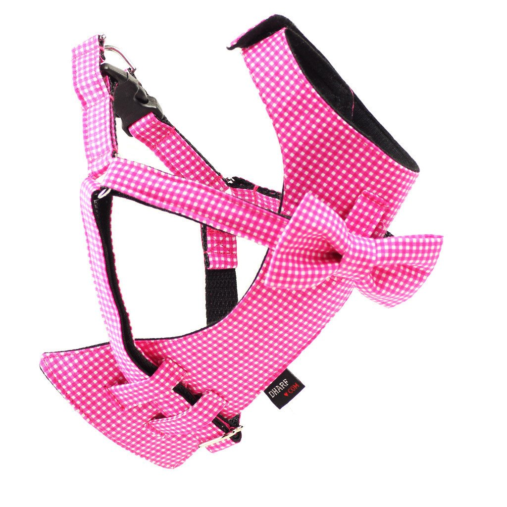 Dog Bow-tie Harness & Leash : Pink Gingham - Dharf - 2