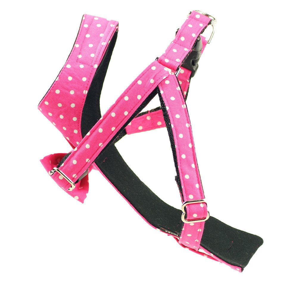 Dog Bow-tie Harness & Leash : Pink Polka - Dharf - 4
