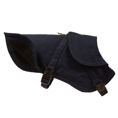 Dharf fleece lined and water repellent dog jacket in navy blue