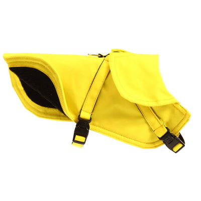 Dharf fleece lined water repellent dog jacket in bright yellow