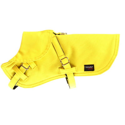 Dharf 2 in 1 dog harness and waterproof rain coat in yellow