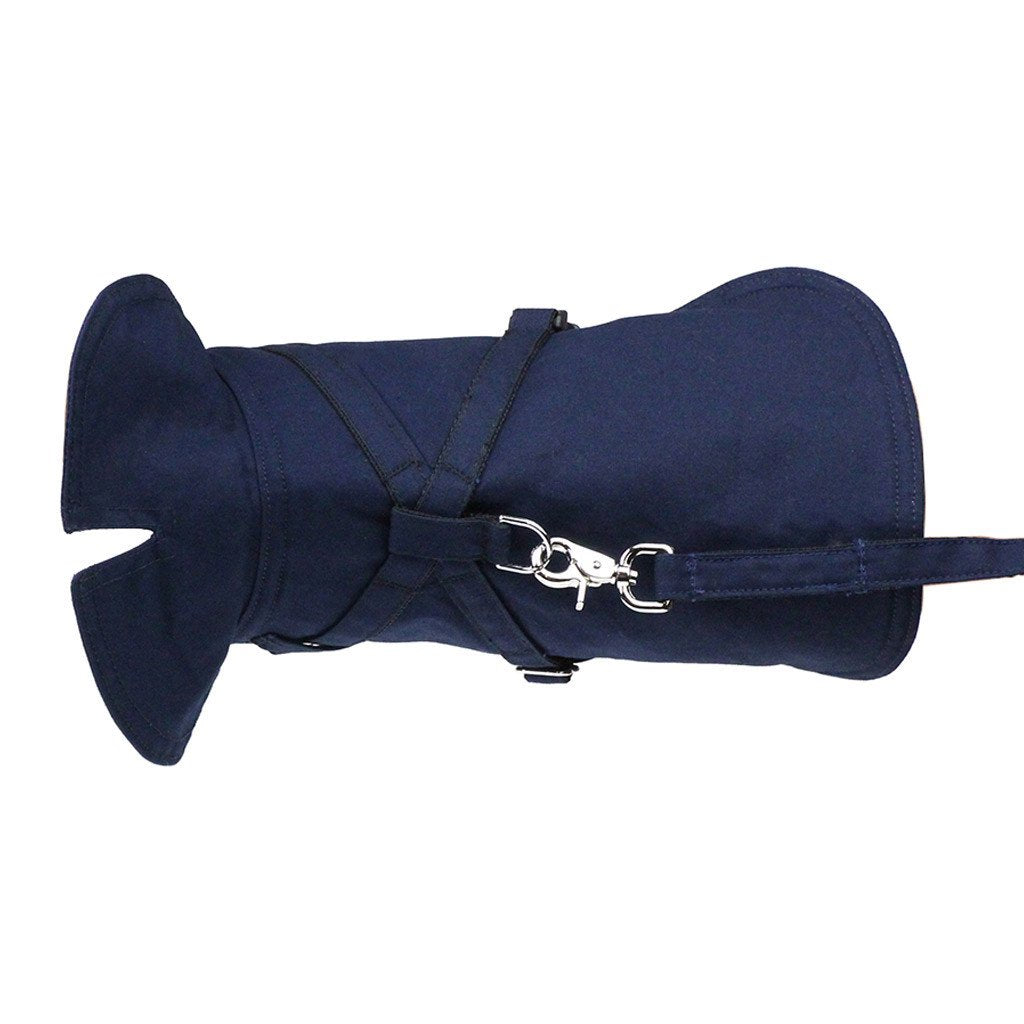 Dharf 2 in 1 dog harness and dog jacket in navy blue with matching lead