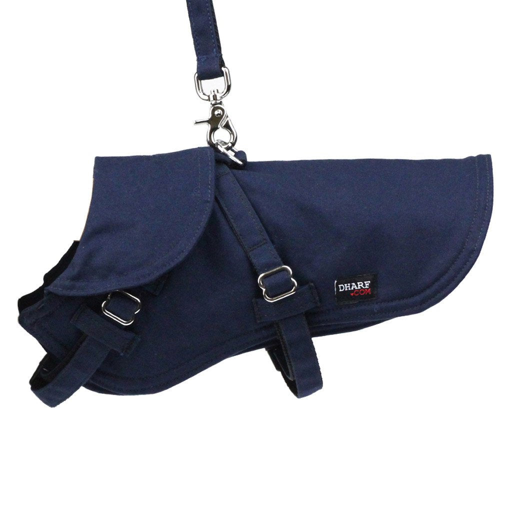 Dharf dog harness and dog jacket with a matching navy leash