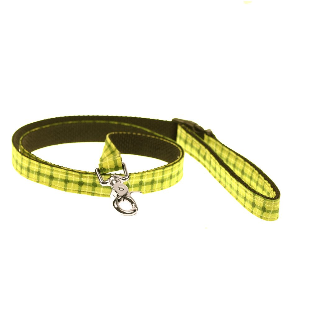 Dog Collar, Bow tie and Leash Set : Green Squares - Dharf - 6