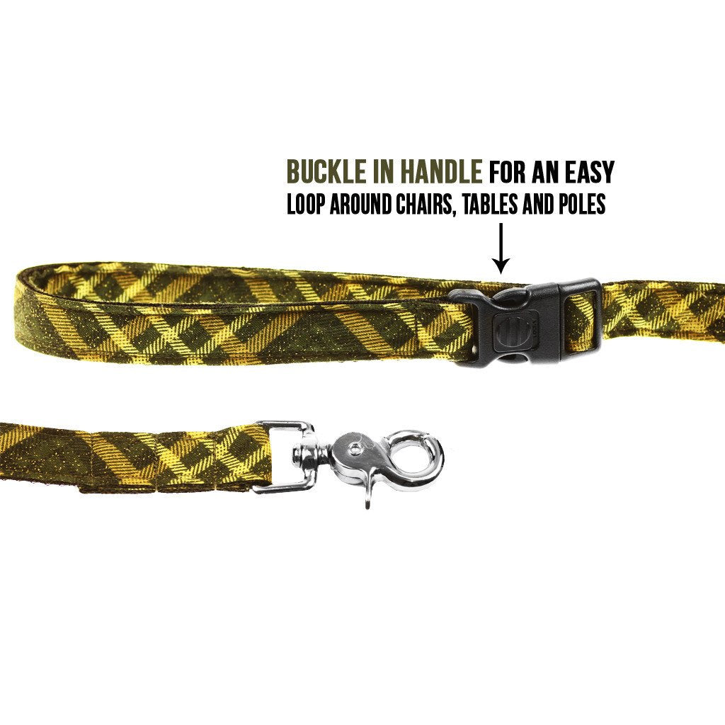 Cat Bow-tie Harness & Leash : Green & Gold Tartan